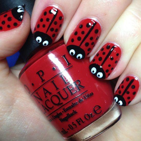 Uñas De Rojo Diseño Mariquita Nails Diy En 2019 Pinterest