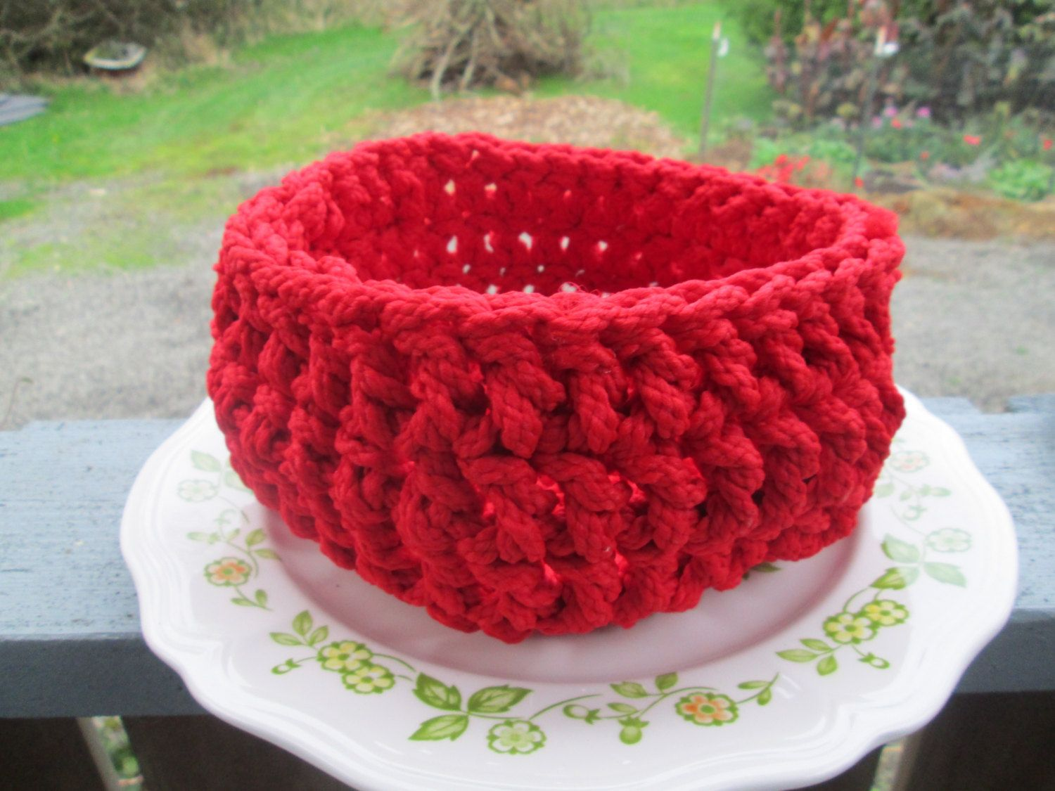 Red Corded Christmas Bowl Crocheted by SuzannesStitches, Red Basket ...