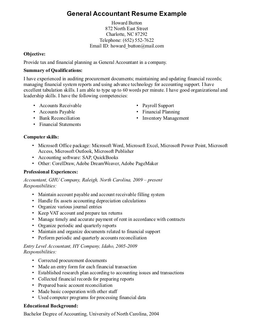 General Objectives For Resumes Accounting Resume Experience Jianbochen The With Template Online