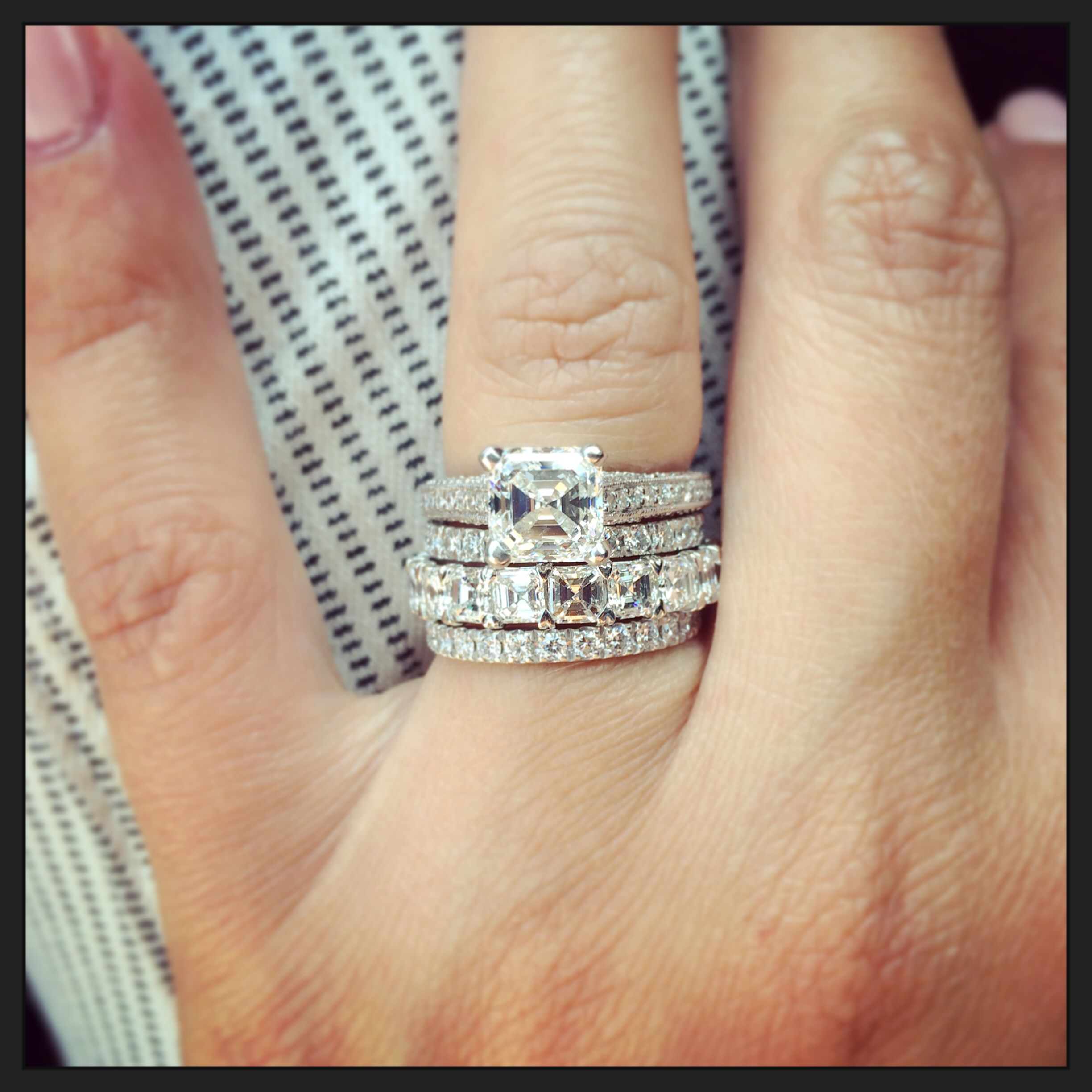 diamond in engagement asscher ring white cut sold filigree product gold jewelers rings modern