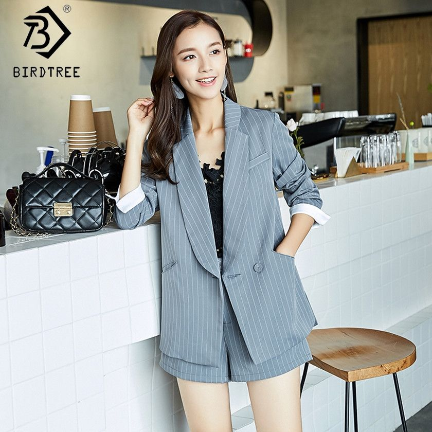 72aac4b0d8 2018 Spring Fashion Korean OL Blazers Suits Casual Slim Long Jacket and  Shorts Pant Women Striped