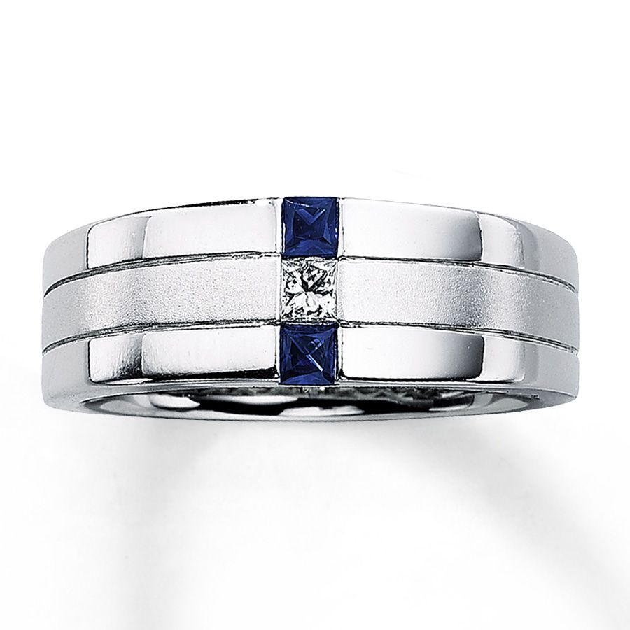 Men S Sapphire Ring 1 10 Ct Diamond 14k White Gold Sapphire Wedding Rings Mens Diamond Wedding Bands Mens Sapphire Ring