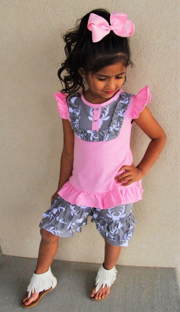 aadb25f6792 Pink gray deer ruffle short set + matching hair bow baby