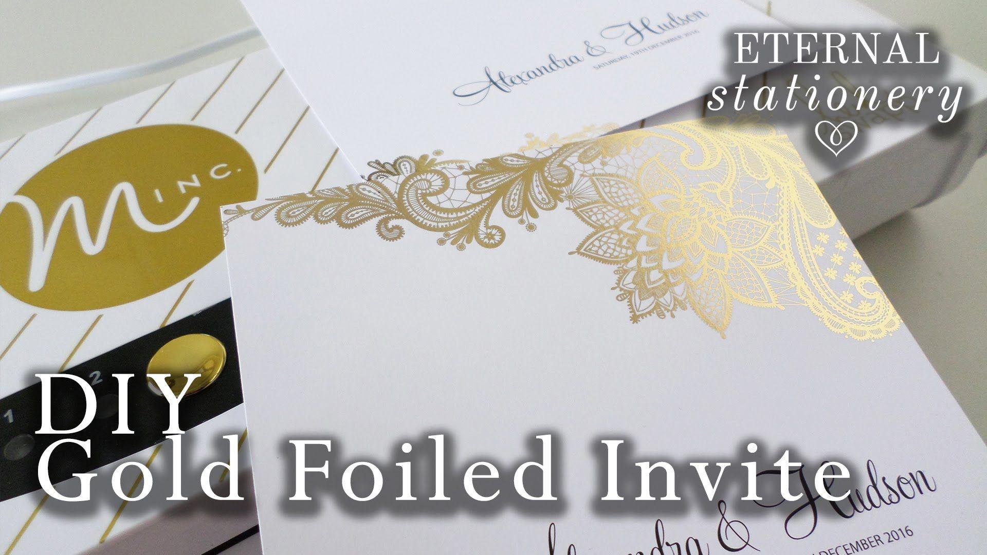 DIY Gold foil transfer Wedding Invitations / Heidi Swapp