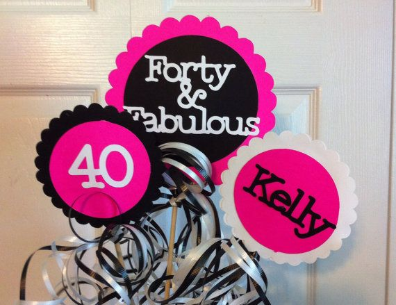 40th Birthday Decorations 3 piece Centerpiece Sign by FromBeths   24 7540th Birthday Party Centerpieces  handmade   mason jars   burlap  . Diy Centerpieces For 40th Birthday Party. Home Design Ideas