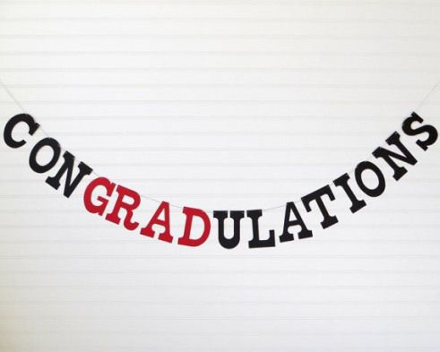 Graduation Banner 5 Inch Letters by FreshLemonBlossoms on Etsy