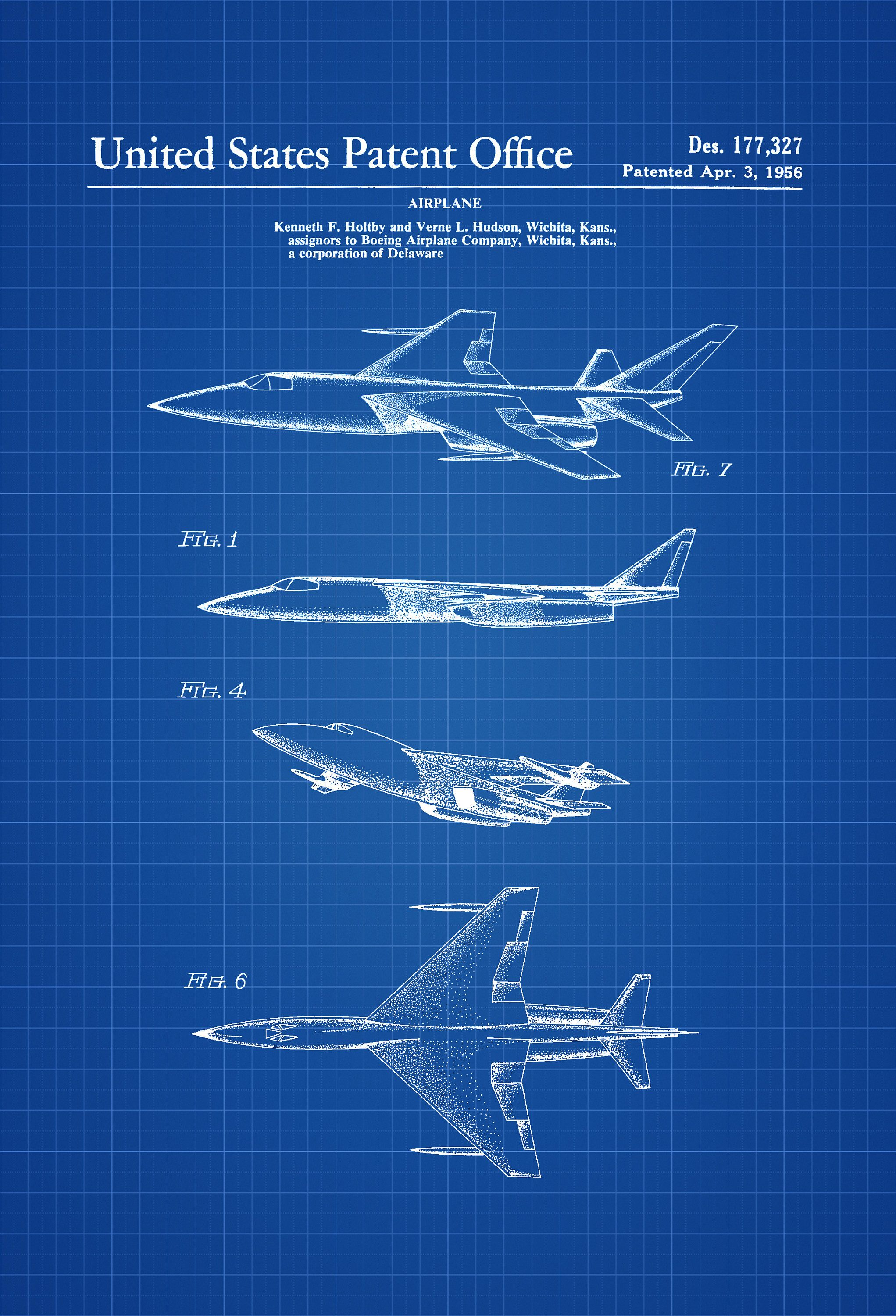 1956 boeing jet patent airplane blueprint pilot gift airplane a patent print poster of a 1956 boeing military jet aircraft the patent was issued malvernweather Images