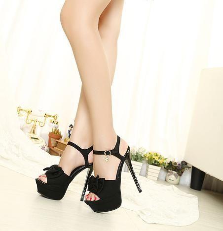 sexy black plus lovely bowknot Platform Sandals from stylishplus.com