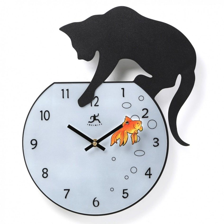Decoration Cute Aquarium Wall Clock Black Cat Orange Fish