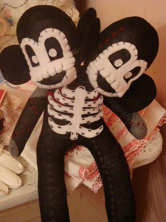 Two headed skeleton sock monkey