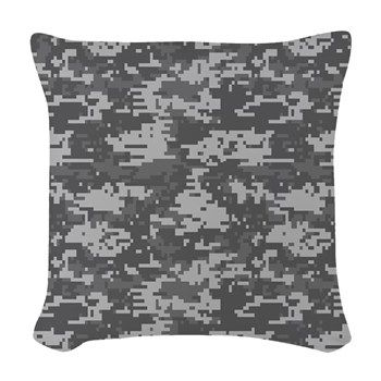 digital military camouflage Woven Throw Pillow