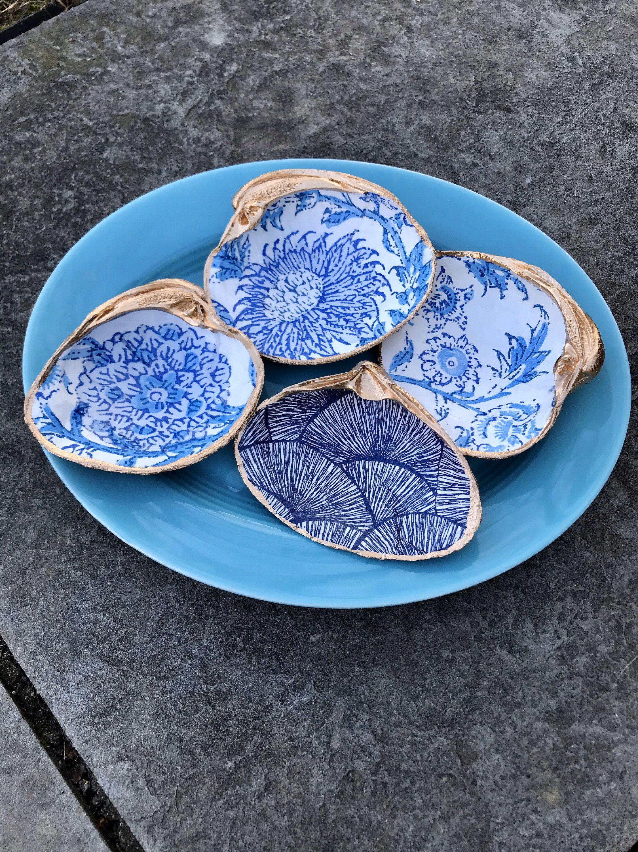 Clam shell ring dish seashell jewelry trinket bowl