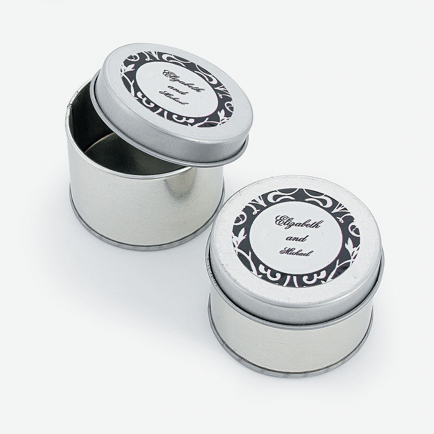 Personalized Classic Black White Tins Orientaltrading Com