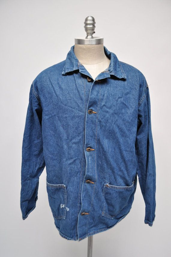 a13f0337ef8 vintage denim jacket PRISON pelican bay work wear size 44 chore coat ...