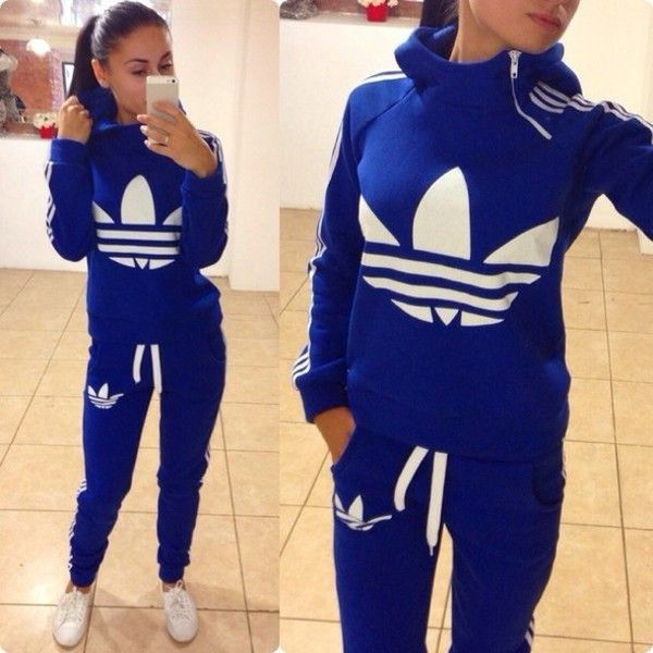 236ba6a566de4 Jumpsuit  adidas blue zip winter sweater tracksuit bottoms joggers hoodie  collar blue and white featuring polyvore
