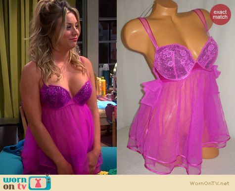 e6f17208d1b Penny s pink babydoll chemise on The Big Bang Theory. Outfit Details  http