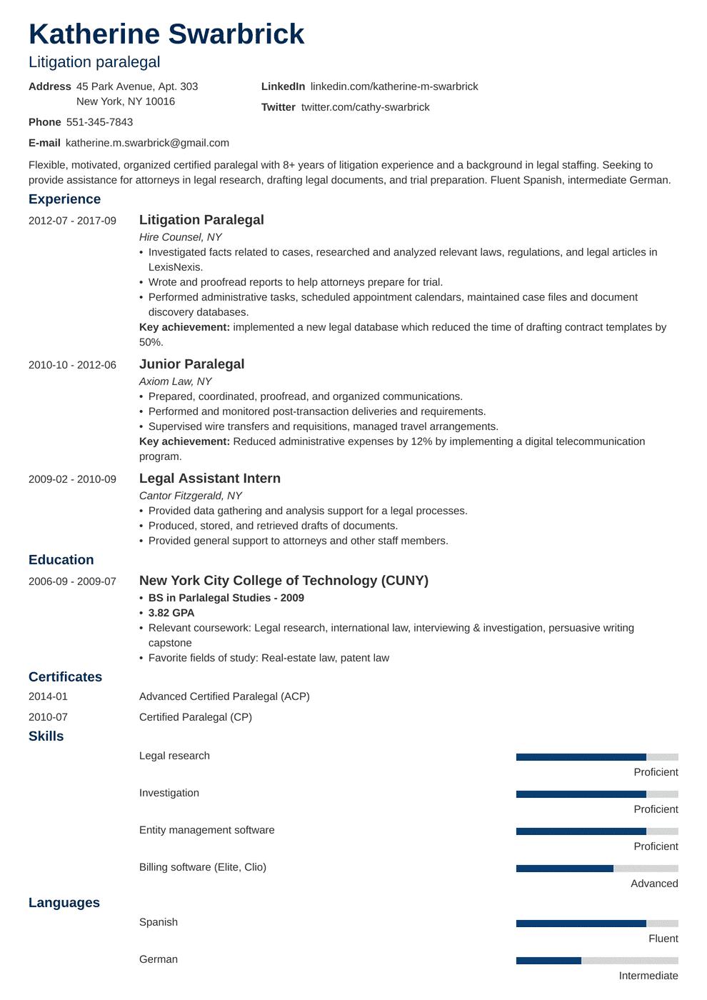 paralegal resume template minimo in 2020 Job resume