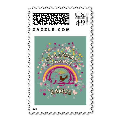 Barbie Green Poster With Rainbow Stamp