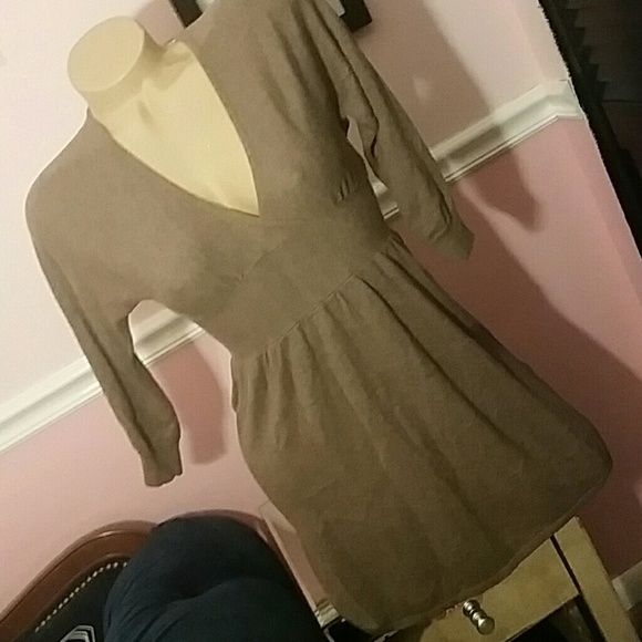 Express xs tunic sweater V-neck Tunic length  Grey brown in color Express Tops Tunics