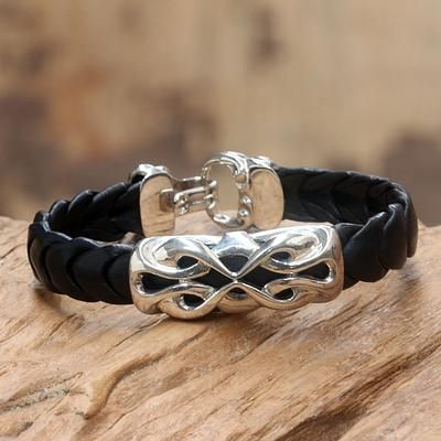 Men S Sterling Silver And Leather Bracelet Infinity Novica