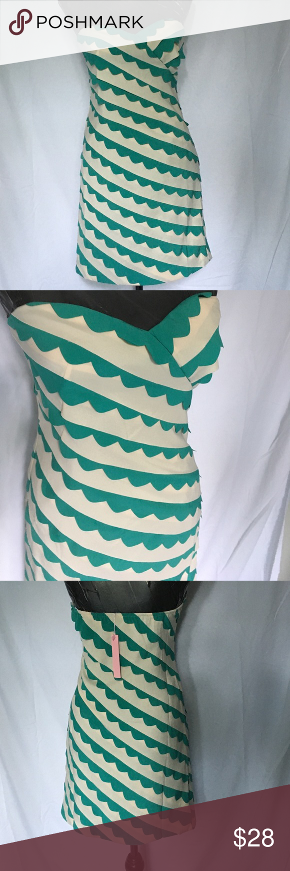 MINUET DRESS Teal green scallops highlighted by the soft cream stripe, sleeveless, side zipper, fully lined, never worn, NWTS Minuet Dresses