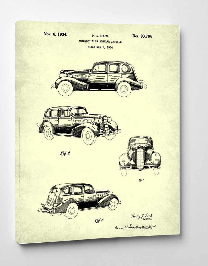 Vintage buick car patent art on canvas wall art patent prints vintage buick car patent automobile art on canvas classic car blueprint mechanic gift home decor ready to hang art malvernweather Gallery