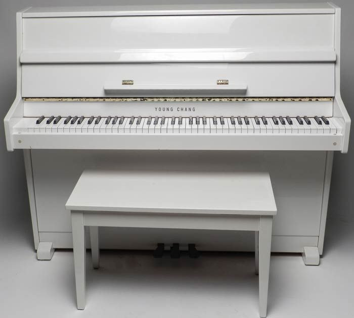young chang white lacquer upright piano auction may. Black Bedroom Furniture Sets. Home Design Ideas