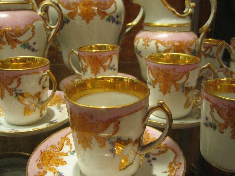 Service à café - Décor Or & fleurs polychromes - Porcelaine de Paris - Porcelaine - Catalogue - Cristal de France - Nicolas Giovannoni