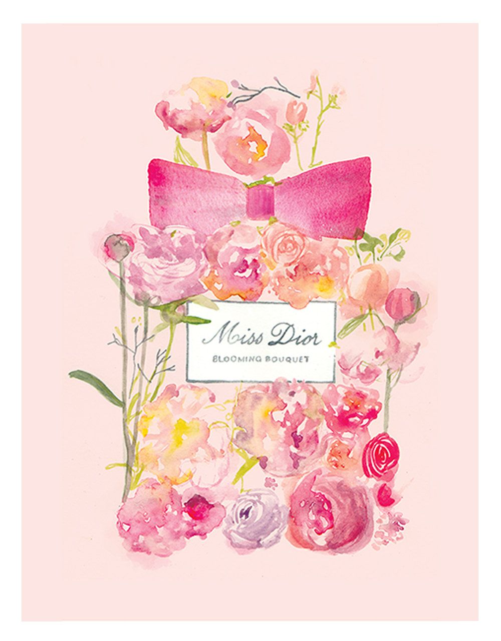 Miss dior blooming bouquet perfume watercolour illustration print miss dior illustration aquarelle de blooming bouquet parfum print par izmirmasajfo