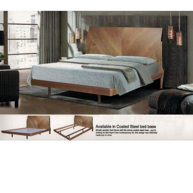 Solid Walnut Veneer Bed Frame Queen 660 Size H107cm X W165cm X