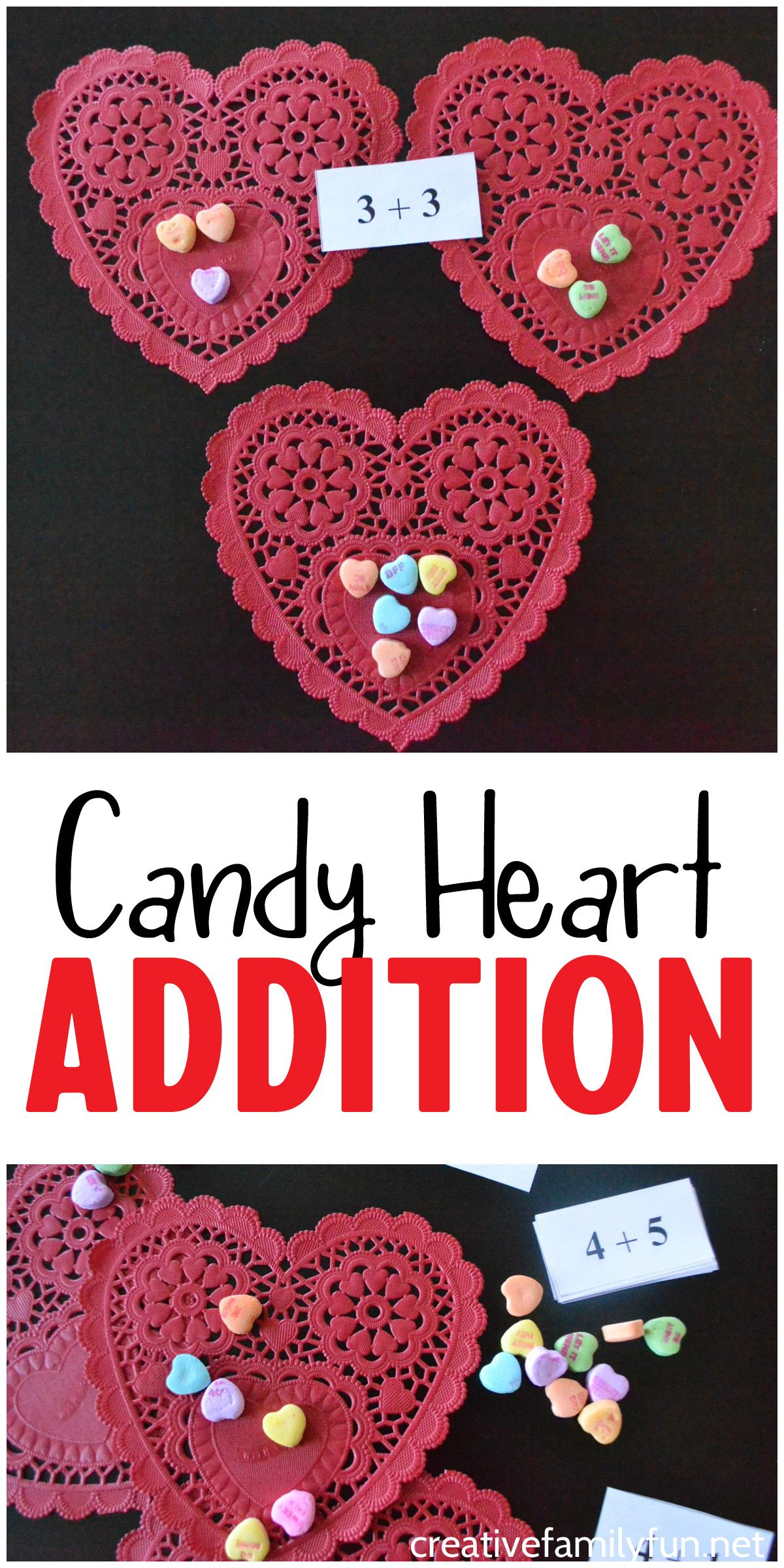 Candy Heart Addition Math Activity