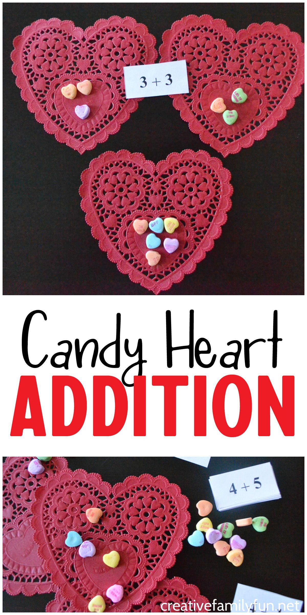 Candy Heart Addition Math Activity
