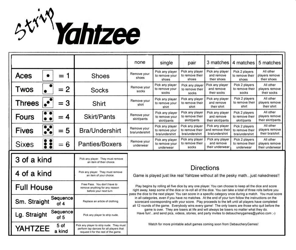 Strip Yahtzee Scorecard By Debaucherygames On Deviantart Yahtzee Score Sheets Yahtzee Yahtzee Game