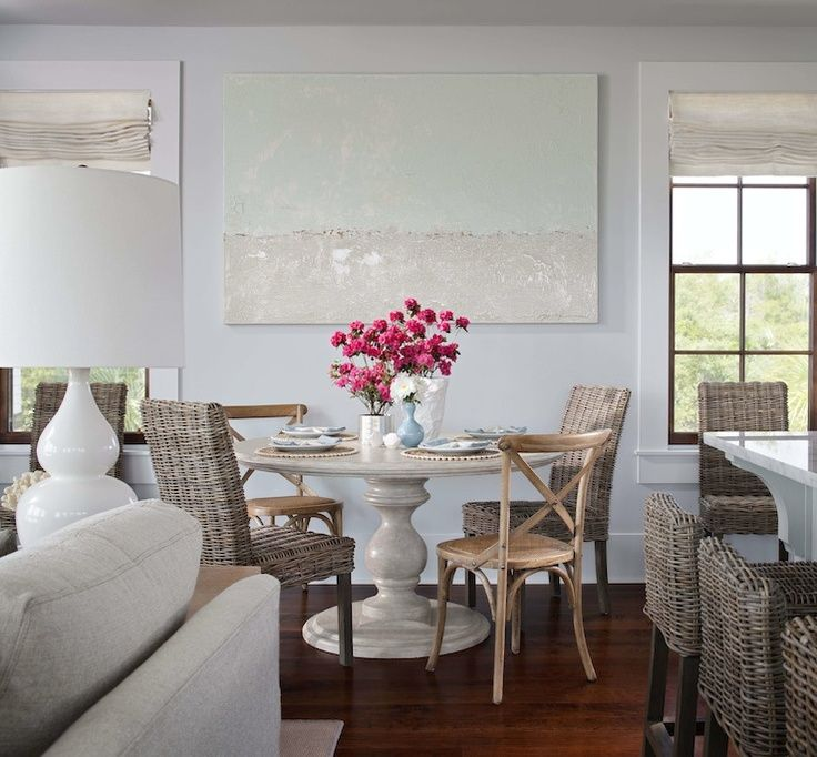 LOVE Summer House ID Beachy dining room design with pale blue walls