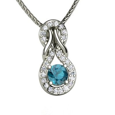 We're on the Island of Misfit Toys Here we don't want to stay We want to travel with Santa Claus In his magic sleigh! | Forget Me Knot Pendant for the Island of Misfit toys | Round London Blue Topaz Sterling Silver Necklace with White Sapphire | Gemvara (item 4) #gemvara #forgetmeknot #bluetopaz #diamond