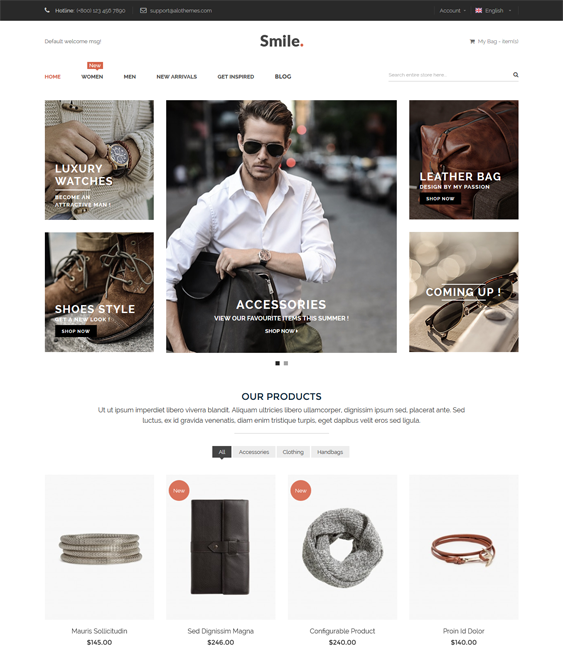 This minimal Magento theme comes with a brand logo slider
