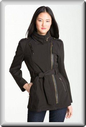 d2ba9a37e Michael Kors Women's Black Leather Fall Hood Waterproof Short Coat ...