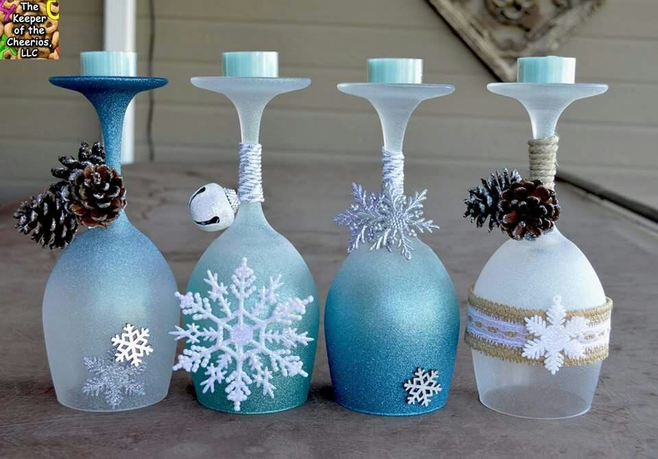 Winter wine cane holders diy pinterest weihnachten weinglas and weihnachtsdeko ideen - Billige weihnachtsdeko ...