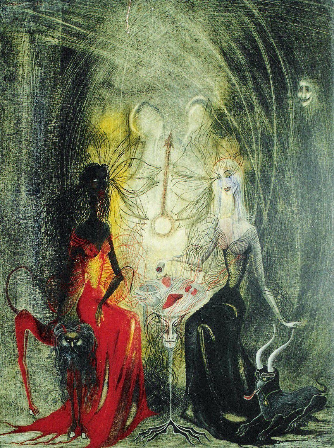 subspecie:  Leonora Carrington - Brujas juegan al Cubilete [Witches play the cauldron]