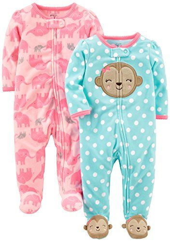 0e29d441c Simple Joys by Carter s Baby Girls  2-Pack Fleece Footed Sleep and ...