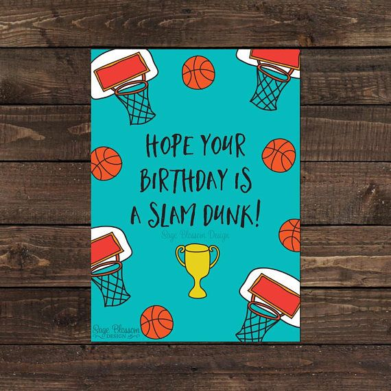 Printable Basketball Birthday Card