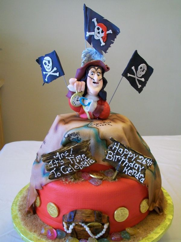 Groovy Captain Hook Cake Via The Disney Cake Blog Disney Cakes Pirate Personalised Birthday Cards Arneslily Jamesorg