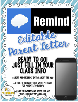 Remind 101 (EDITABLE) Parent Letter Letter to parents