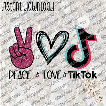 Peace Love Tik Tok Instant Download Print File Png Instant Download Prints Peace And Love Reading Recommendations