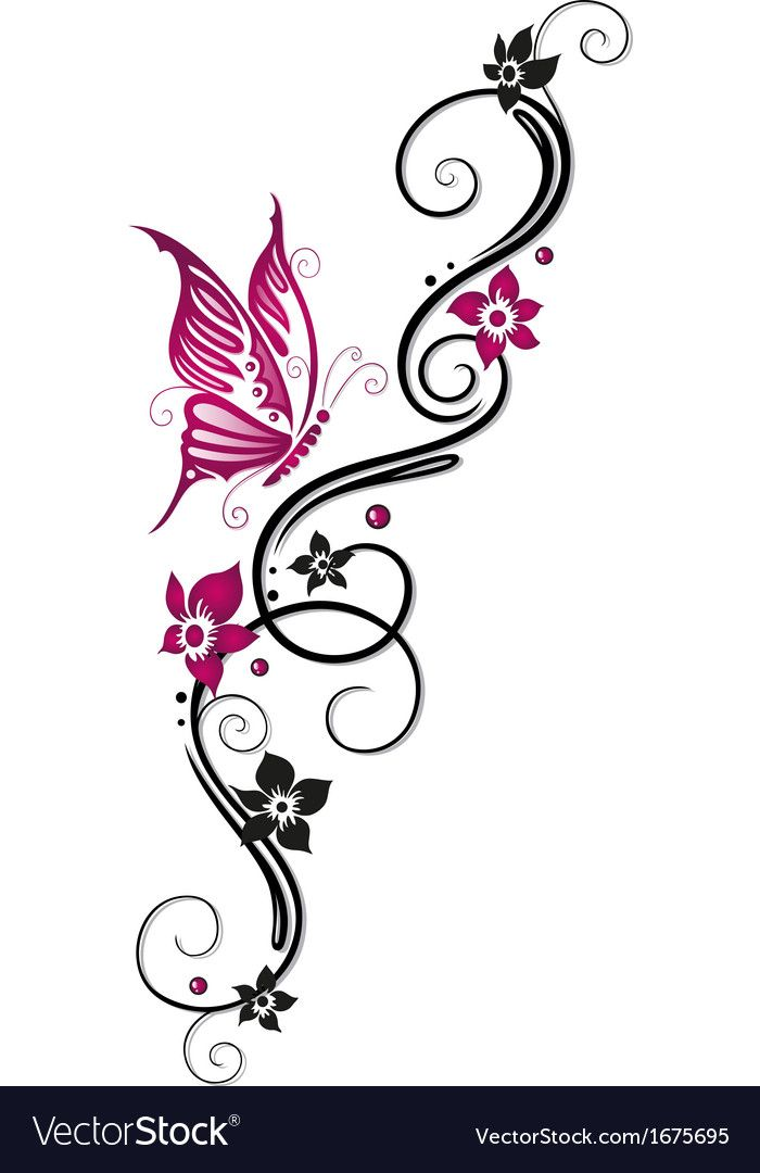 Flowers Floral Element Vector Image On Vectorstock Butterfly Art Swirly Tattoo Butterfly Tattoo