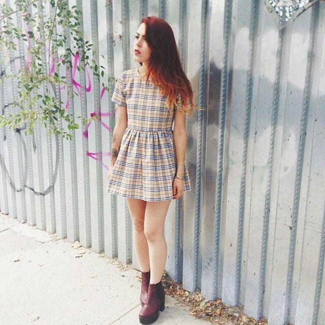 Luanna Perez/little plaid dress/booties/lua p