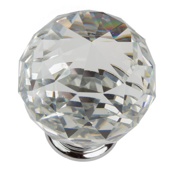 GlideRite 157 Inch Clear K9 Crystal Cabinet Knobs Pack Of 25 Grey Chrome