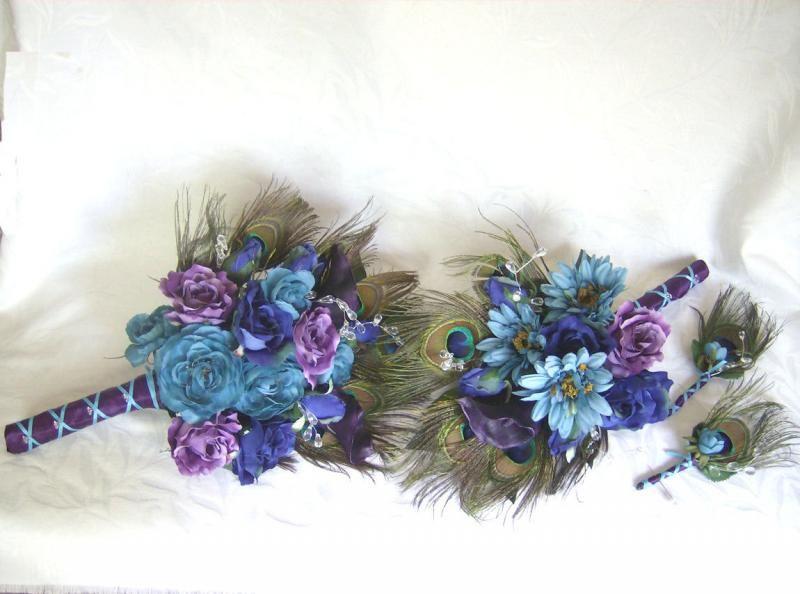 Wedding Peacock Shawl | Peacock feather wedding bouquet turquoise purple eggplant silk flowers ...