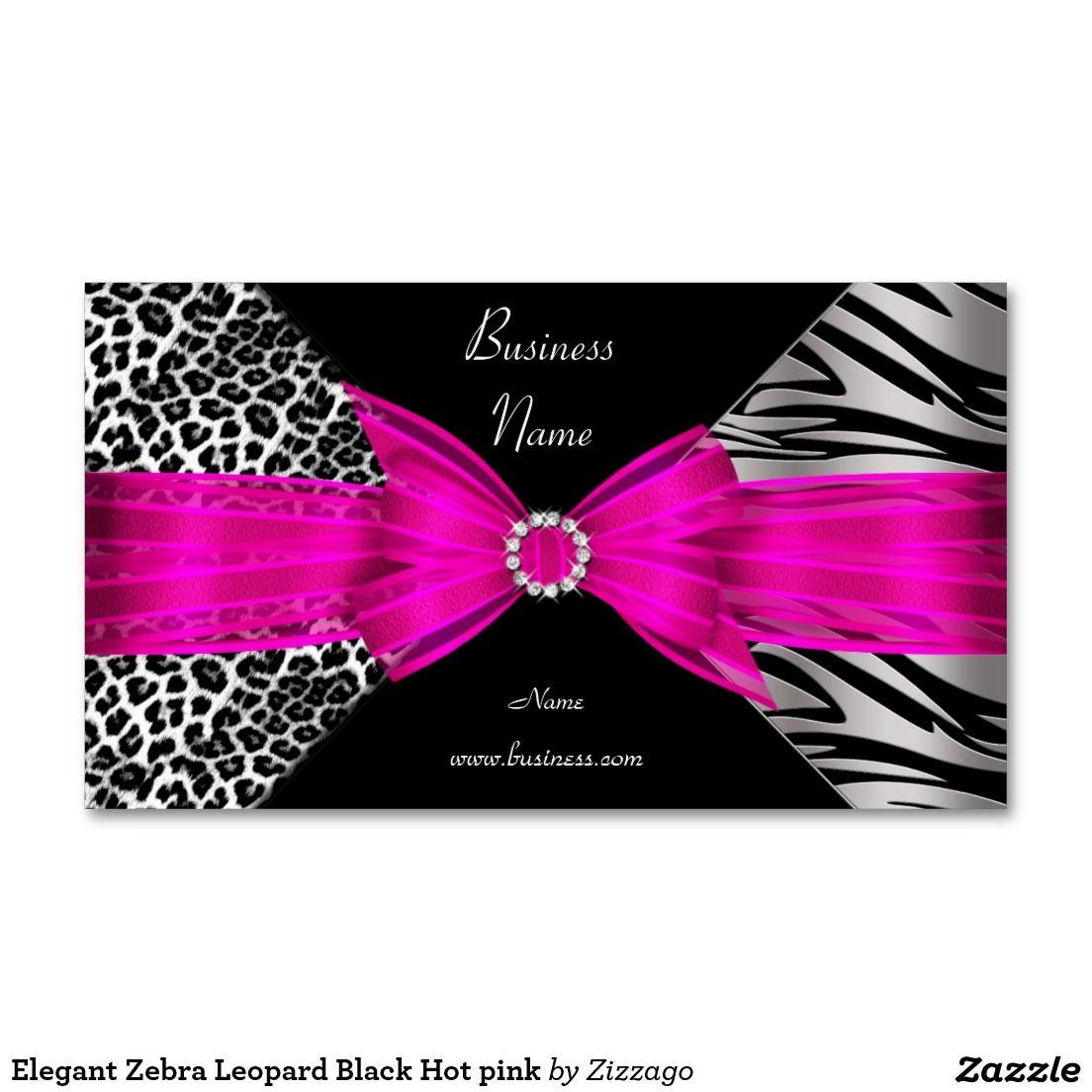 Zebra Leopard Black Hot pink Business Card