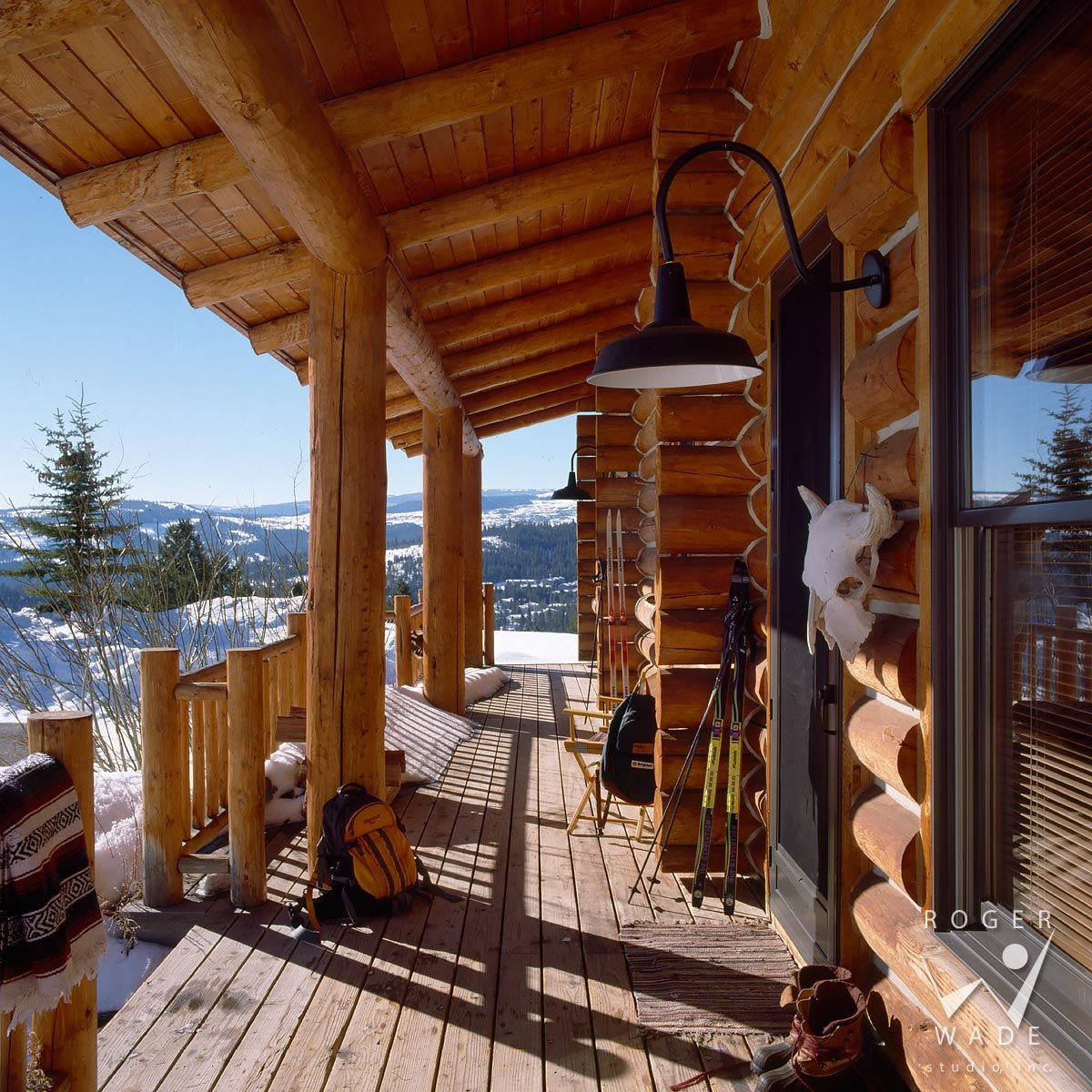 Roger Wade Studio Architectural Photography Of Front Porch And Entry Of Log  Home In Winter, Private Cabin, Big Sky, Montana, By Blue Ribbon Builders